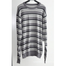 100%Cotton Men Stiped Round Neck Knitted Pullover